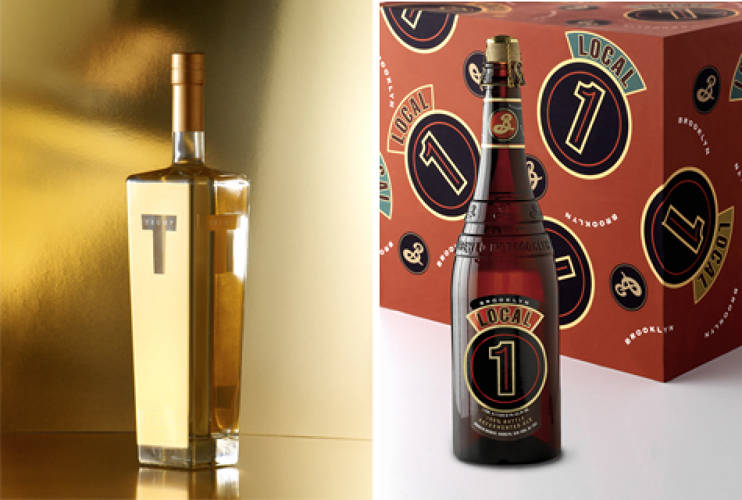 <p> Trump Vodka<br /> When it came to branding his new line of high-end vodka in 2006, Donald Trump turned to Glaser to design the classy gold decanter bottle made by Bruni Glass.</p>  <p>Brooklyn Brewery Local 1 beer<br /> Since 1987 the world-famous Brooklyn microbrewery has tapped Glaser to define everything from its logo to its labels to its truck designs, including this series of beers served in giant champagne-sized bottles.</p>