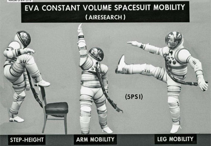 <p>Astronauts demonstrating the mobility of EX1-A suits in preparation of the Apollo missions. AiResearch Corporation, 1969 Courtesy of NASA. </p>