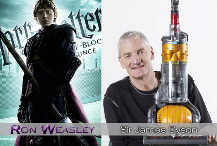 <p>Ron is a friendly guy trying so hard to succeed, either at magic or at Quiddich, but seems plagued by failure. <strong><a href=&quot;http://www.fastcompany.com/magazine/115/open_next-design.html &quot;>Sir James Dyson</a></strong>, inventor of the Dyson vacuum and the Airblade hand dryer, much like Ron as Quiddich keeper, went through 5,126 failures (vacuum prototypes) before learning from his mistakes and soon succeeding wildly. If only <em>Harry Potter and the Deathly Hallows</em> could feature a Quiddich match on Dyson DC28 vacuums. </p>