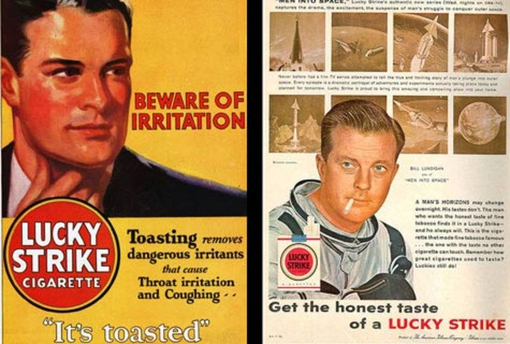 <p><strong>REAL WORLD:</strong> Lucky Strike, first introduced in 1905, began using the &quot;It's Toasted!&quot; slogan in 1917 to inform customers of their toasty processing, rather than the alternative (and decidedly less taste-bud tantalizing) sun-dried method. Another slogan, &quot;L.S.M.F.T (Lucky Strike means fine tobacco.),&quot; was printed on the packaging starting the same year. The ad pictured left featuring astronaut Bill Lundigan in 1959 is one that a real-life Sterling Cooper-style agency produced at that time. </p>