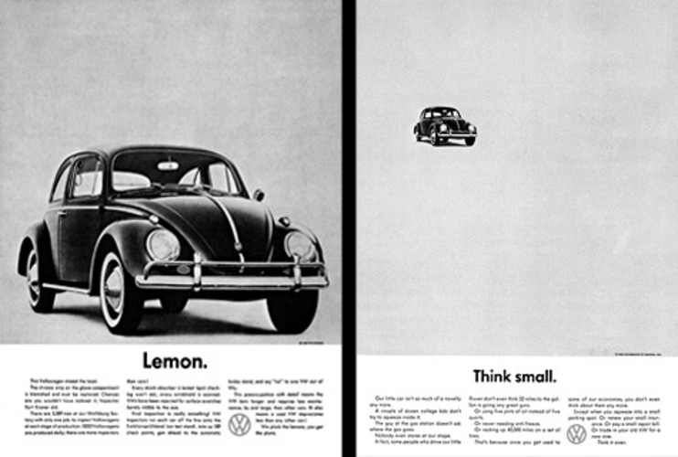 <p><strong>REAL WORLD:</strong> Doyle Dane Bernbach used the &quot;Think Small&quot; Campaign to introduce the German VW Beetle to 1960's America. The ad explained that due to careful inspection, the chrome strip on the glove compartment of this particular Beetle was blemished, therefore shaming the bug a &quot;Lemon.&quot; The message: With high standards like these, VW Beetles must be well-built cars. The ad is as classic as the car it advertised: <em>Advertising Age</em> named it the number-one campaign of the 20th Century. </p>