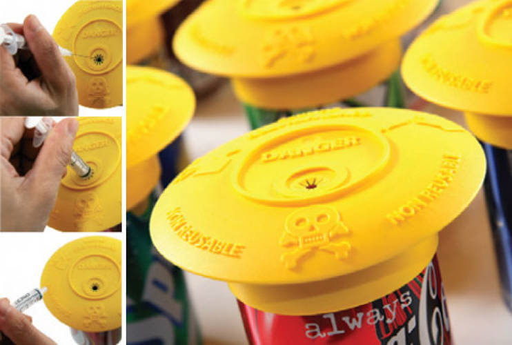<p>Designer, Han Pham, created <a href=&quot;http://www.yellowone.dk&quot;>Antivirus</a> to facilitate the safe removal and disposal of needles immediately after they are used out of a simple, polypropylene plastic cap that permanently attaches to the top a standard aluminum soda can. After performing an injection, the user places the syringe's needle tip into the cap's opening, which is too small for a finger to pass through, and drops the needle into the container. Each can holds 150 to 400 needles depending on its depth. </p>