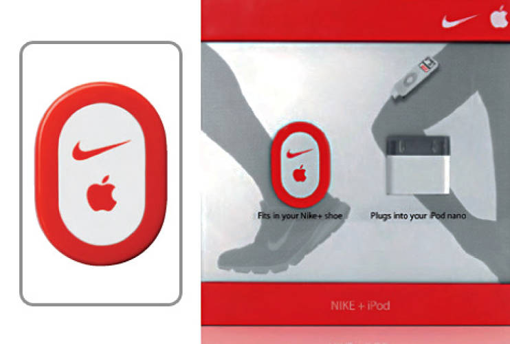 <p>The Nike + iPod Sport Kit connects shoe to gadget, using an <a href=&quot;http://www.apple.com&quot;>iPod</a> to monitor a runner's fitness performance while he is jogging to a personalized soundtrack.  <a href=&quot;http://www.fastcompany.com/fast50_09/profile/list/nike&quot;>Nike+</a> shoes have built-in pockets beneath their insole that hold a piezoelectric accelerometer sensor, and receiver attaches to an iPod nano or iPod touch. The sensor monitors movement and converts that motion into usable data. As the user runs, information about his speed, distance, and calories burned is sent to the iPod, where it can be viewed and tracked.</p>