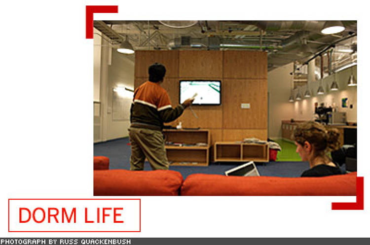 <p> Part of the collegiate feel comes from all the games available around the office to employees-- ping pong, foosball, chess, pool, Wii, you name it.  </p>