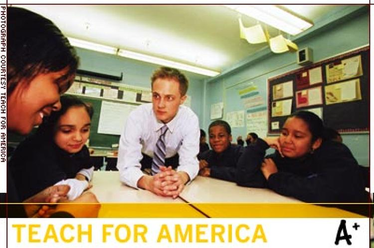 <p>Teach For America is a national corps of recent college graduates who commit two years to teach in urban and rural public schools. Half of those teachers help improve first-year gains in student performance equivalent to 1.5 academic years. And 60% of TFA alumni still work full time in education.</p>