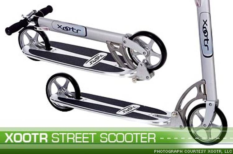 <p>The <a href=&quot;http://www.xootr.com/xootr/street.shtml&quot;>Xootr Street</a> scooter is about as environmentally-friendly as you can get when it comes to personal travel -- all you have to do is kick and push. And depending on kick strength, the scooter can go up to about 10 miles per hour.</p>