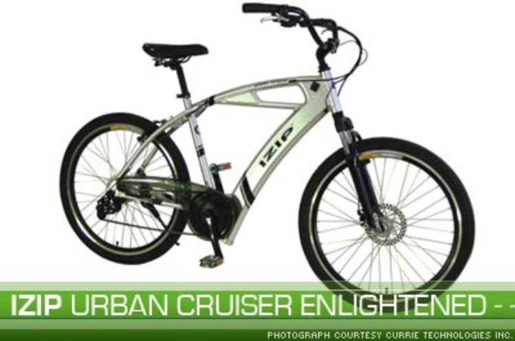 <p><a href=&quot;http://etxcur.accpaconline.com/IZ-UCE24 page.html&quot;>IZIP Urban Cruiser Enlightened</a> is an electric bicycle that reaches top speeds of 15 miles per hour, averages 18 to 25 miles with normal pedaling, and runs on NiMH EV Rated Batteries.</p>
