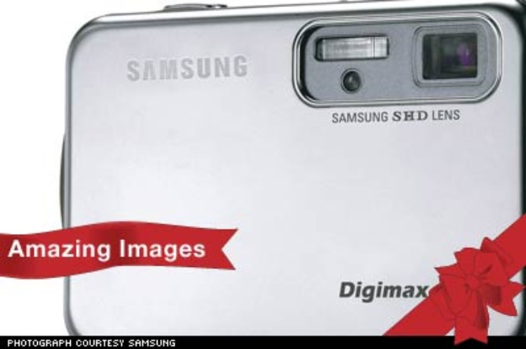 <p>The Digimax i5 digital camera from Samsung is a five mega-pixel monster. Its 17mm thin frame is small and comfortable, but has a large 2.5&quot; screen for easy viewing. It features 3x optical zoom, for less grainy images, and mpeg-4 video capabilities, for DVD-quality movie files. $299.</p><p><a href=&quot;http://www.samsungcamerausa.com/productdetails.asp?productid=127&quot;>http://www.samsungcamerausa.com</a></p>