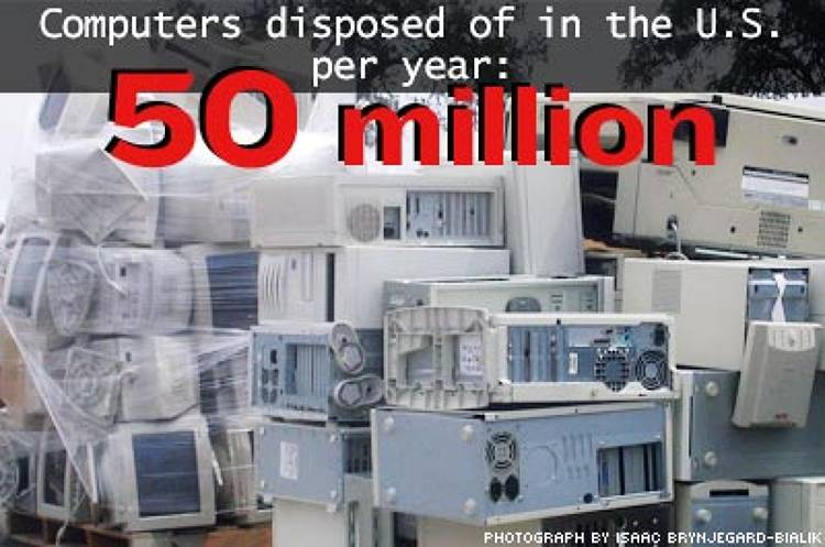 <p>With 1.5 million of these machines ending up in landfills, there's a threat of poisonous seepage from the more than 100 chemicals--including lead, cadmium, barium, and mercury--of which they're comprised.</p>
