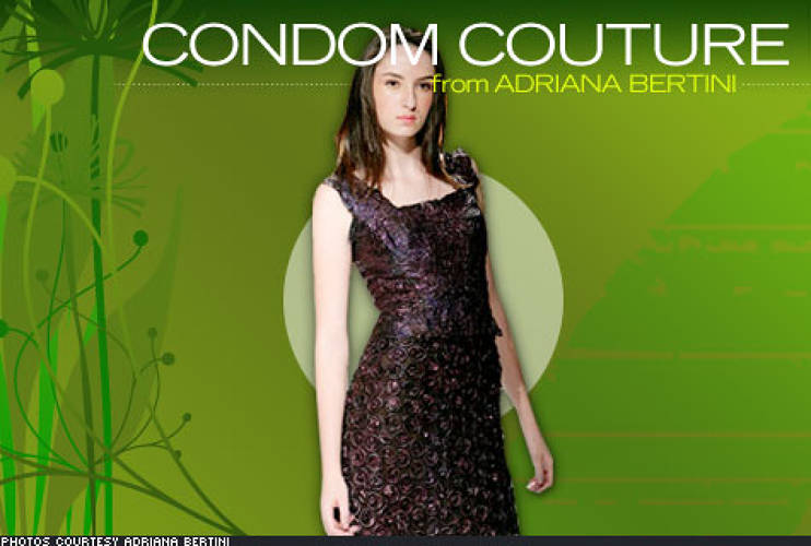 A former Greenpeace activist, artist <a href=&quot;http://www.adrianabertini.com.br/#&quot;>Adriana Bertini</a> designs clothing made from unused, quality rejected condoms that would otherwise be incinerated, releasing sulfur and other environmentally unfriendly toxins. Not made for general retail, the condom centric art is displayed on sculptures and models, the main purpose being to spread awareness about AIDS prevention. Bertini's motto: &quot;Condoms must be basic like a pair of jeans and necessary like a great love.&quot;