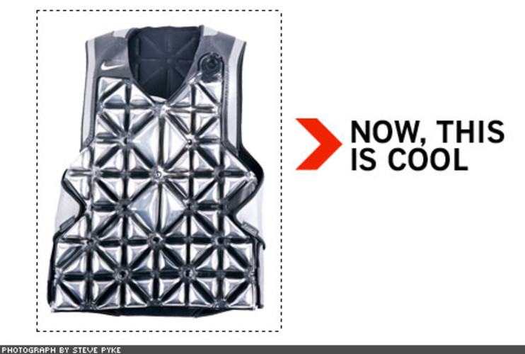 <p> Nike's new PRECOOL vest was designed in its Sports Research Lab, which determined that performance falls off drastically when core body temperature hits 103 degrees. The vest, a medley of metal paint, plastic, and recycled sneakers, is designed to slow the rise of core body temperature before events in Beijing. It is filled with water, then frozen overnight. The athletes will wear it for about an hour just prior to competition.  </p>