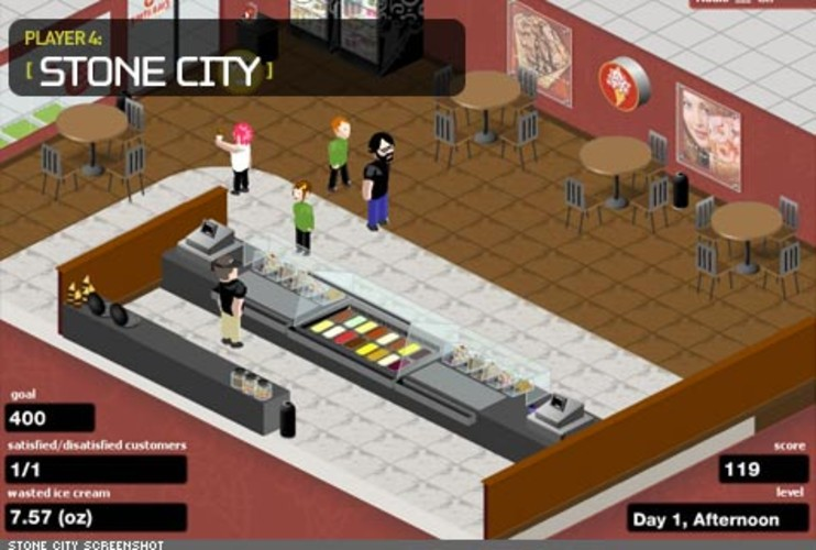 <p> Cold Stone Creamery commissioned Persuasive Games to create a front line employee training game called &quot;Stone City,&quot; where players are trained on the relationship between portion sizes and profitability.  </p>