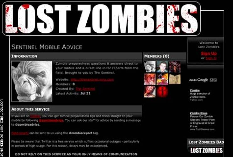 <p> This network boasts some 1,700 members with overactive imaginations, posing as zombie-hunting vigilantes, survivalists, and the undead themselves. Everyone's an amateur George A. Romero on this site, where the exalted art form is a perfectly staged photo or mock radio broadcast documenting a zombie &quot;outbreak.&quot; </p> <p> <strong> <a href=&quot;http://www.lostzombies.com/&quot; target=&quot;_new&quot; title=&quot;Lost Zombies&quot;>Lost Zombies</a></strong> </p>