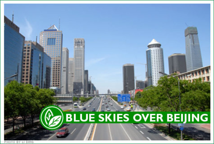 <p> Here's Beijing as it looks on a &quot;blue sky&quot; day, with the usual smog lifted from the city's skyline by a nice dry wind. </p>