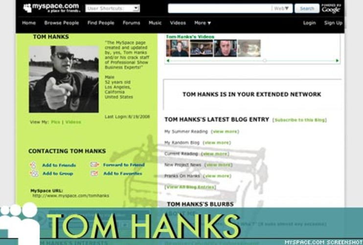 <p> Without fanfare or special wrangling from the MySpace team, the likeable actor blogs occasionally, posts videos and has amassed more than 63,342 friends. According to MySpace, they discovered <a href=&quot;http://www.myspace.com/tomhanks&quot; target=&quot;_new&quot; title=&quot;Tom Hanks MySpace&quot;>Tom Hanks</a> had a page on the site only after the actor mentioned it on Oprah.  </p>