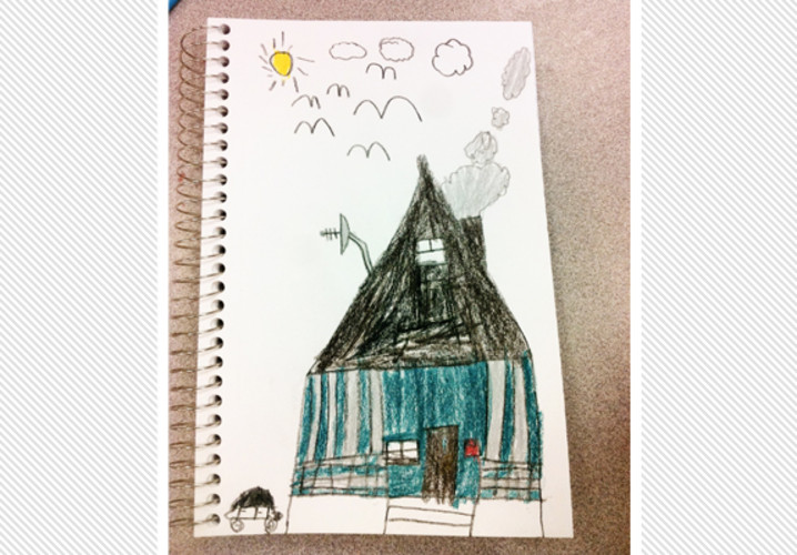 An Irving Elementary fourth grader drew his rebuilt home which was lost in the storm.