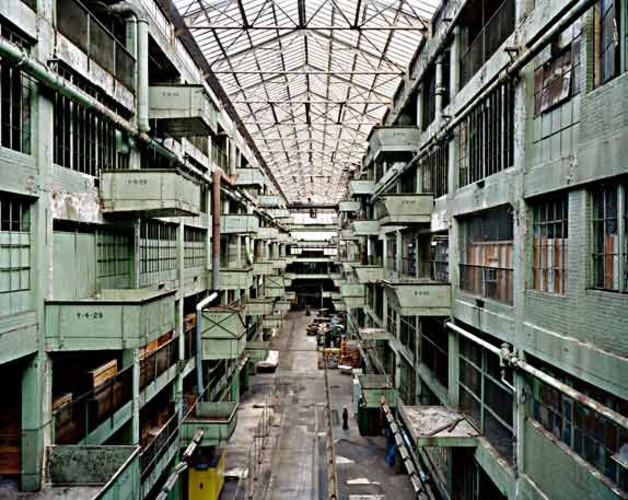 What remains of an assembly line corridor in Ford's Highland Park Plant in Detroit, Michigan, where the first Model T's were created and the assembly line was invented.