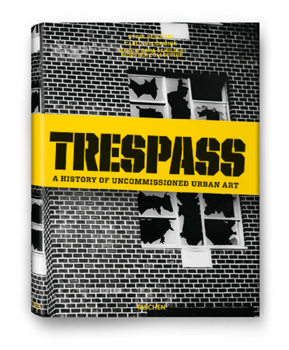 Trespass spans four decades and 150 artists, including unpublished work by Keith Haring and Shepard Farey. Banksy penned the foreward to the book. Here are a few pages from the book, which is <a href=&quot;http://www.taschen.com/pages/en/catalogue/art/all/05719/facts.trespass_a_history_of_uncommissioned_urban_art.htm&quot;>published by Taschen</a>.