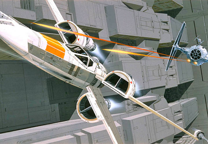 Designing a spaceship for a sci-fi movie must be tricky. The things have to be pseudo-believable, but incredible, able to add to the plot line, and preferably memorable. McQuarrie's X-Wing fighter, Luke Skywalker's hot ride, was the <em>Star Wars</em> equivalent of the Spitfire in so many war movies, or perhaps Maverick's Tomcat in <em>Top Gun</em>.</p><p> Initially thought up by Industrial Light and Magic employees as a more traditional spacecraft for the movie's heroes, here's a McQuarrie image showing the famous close-quarters battle between X-Wings and the Empire's evil, more alien-looking Tie Fighter craft in the trench of the Death Star--the concluding drama of the first movie.