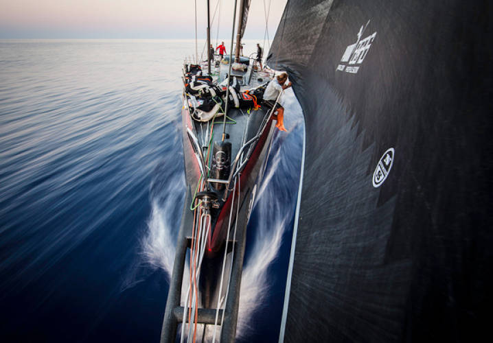 A view from the front of Mar Mostro. Onboard PUMA Ocean Racing powered by BERG during leg 6 of the Volvo Ocean Race 2011-12, from Itajai, Brazil, to Miami, USA.