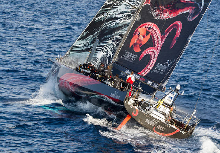 Leaders PUMA Ocean Racing powered by BERG pass the Great Isaac Light on the home stretch of leg 6 from Itajai, Brazil, to Miami, USA, during the Volvo Ocean Race 2011-12.