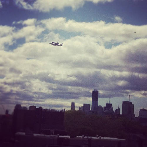 #SpotTheShuttle, among other tags, became the hot hashtag to watch on Instagram today, as the space shuttle Enterprise piggybacked on a Nasa 747 on the way to its permanent home at the Intrepid, Sea, Air And Space Museum in Manhattan. Here are our 16 favorite shots. <br><br> #Bonus:<a href=&quot;https://www.facebook.com/photo.php?v=10150681477992038&quot;>Video</a> by our very own Adam Barenblat