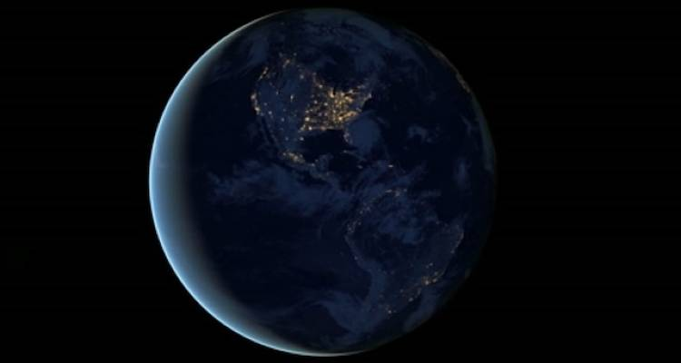 <p>The Americas gleam in the night in this view of the Western hemisphere of the planet--showing the dramatic difference between North and South.</p>