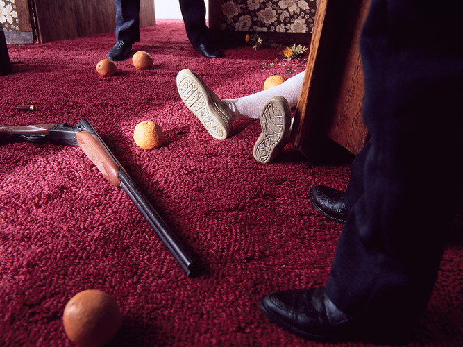 "<p><a href=&quot;http://www.fastcodesign.com/1670994/haunting-dioramas-re-create-tiny-bloody-crime-scenes#1&quot; target=&quot;_self&quot;>Photographer Bill Finger</a> shows us violent crime scenes and eerie suburban dramas unfolding within miniature film sets. Then, he destroys the evidence.</p>  <p>""I emphasize a certain degree of theatricality in my images,"" Finger explains. ""By opening the image to questioning by the viewer, they're left to wonder 'how much truth does this photograph hold?'""</p>"