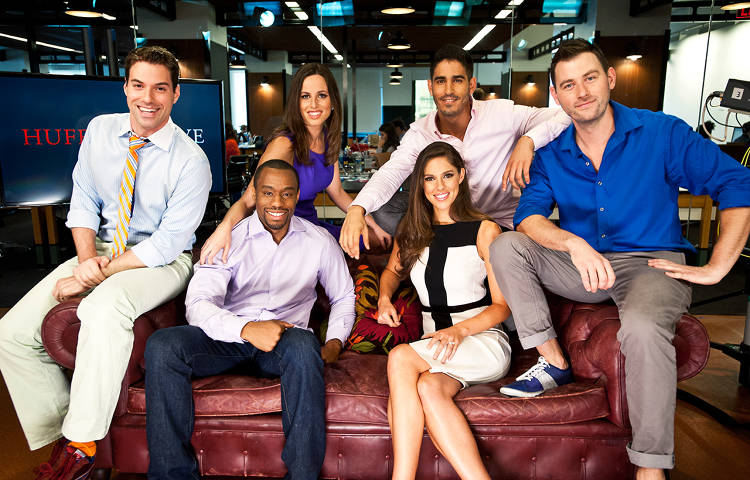<p>HuffPost Live hosts Josh Zepps, Abby Livingston, Alicia Menendez, Mike Sacks, Ahmed Shihab-Eldin, and Marc Lamont Hill pose for a group portrait at AOL Huffington Post studio in New York on Thursday Aug. 9, 2012.</p>