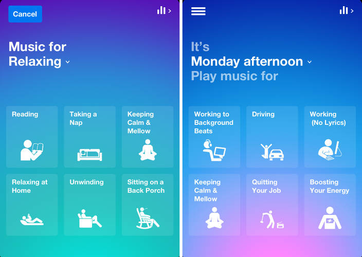 <p>Songza's flagship concierge service takes information around you--such as the day, time, your device type, and IP address--to suggest some activities it thinks you might be doing right now.</p>