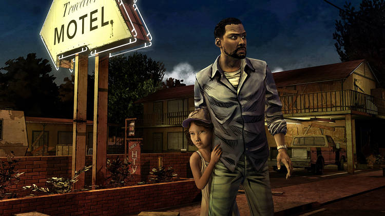 <p>In the game, you play Lee Everett (foreground) and try to stay alive while helping Clementine (behind) search for her parents.</p>