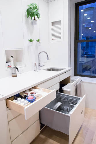 <p>The kitchen space is compact with a pull-out dishwashing unit, storage, and garbage disposal.</p>