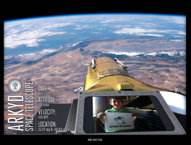 <p>Planetary Resources' rendering of a $25 &quot;spaceselfie.&quot;</p>