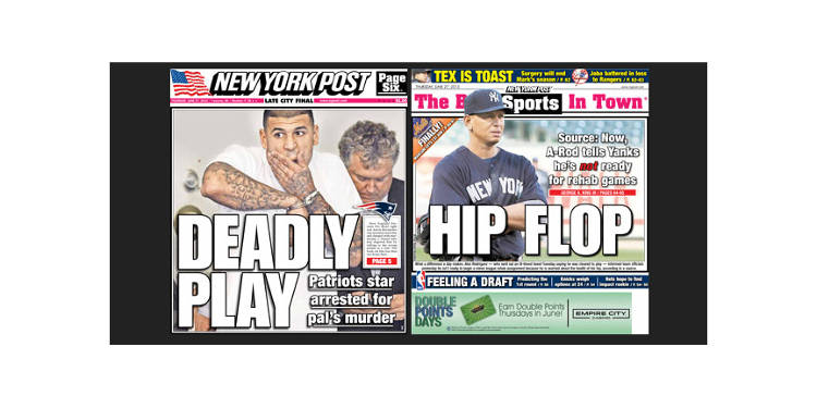 <p>The <em>New York Post</em>, which didn't feature the news on its front pages.</p>