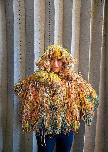 <p>Raised in France, Elodie Blanchard followed her musician husband to Brooklyn and began a textile design company, <a href=&quot;http://www.elasticco.com/&quot; target=&quot;_blank&quot;>Elasticco</a>. Here, a superhero suit made from elastic bands.</p>