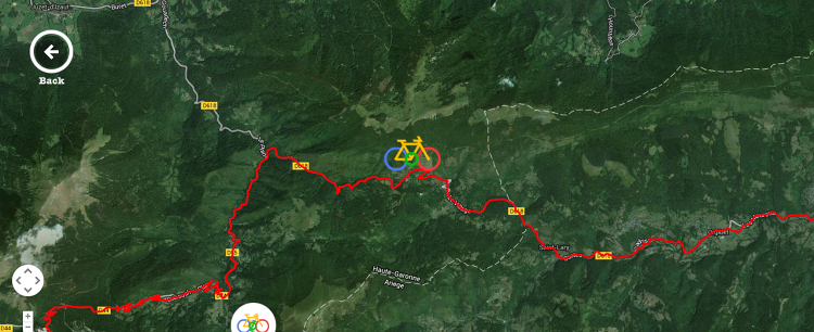 <p>Users can bike along the map simply by scrolling down the page. Here we are on Stage 9, somewhere between Saint Girons and Saint Bagneres de Bigorre.</p>