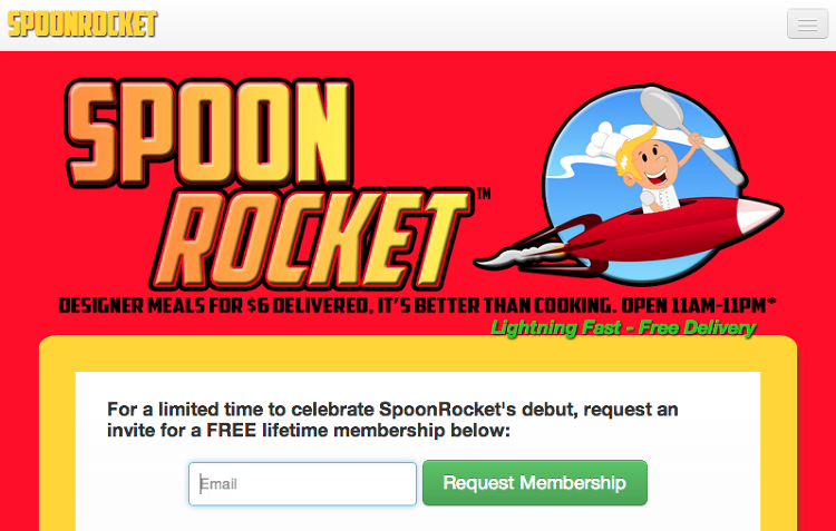 <p>SpoonRocket. &quot;It's better than cooking.&quot; And probably fast food.</p>