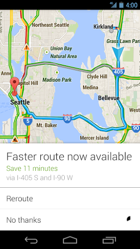 <p>Google suggests faster routes.</p>