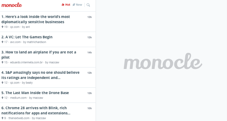 <p>Monocle's interface. Already you can see articles from Quartz, Medium, and The Next Web.</p>