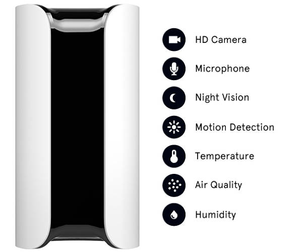 <p>Canary is packed with an HD video camera, a microphone, and sensors that track everything from motion detection to air quality to humidity.</p>