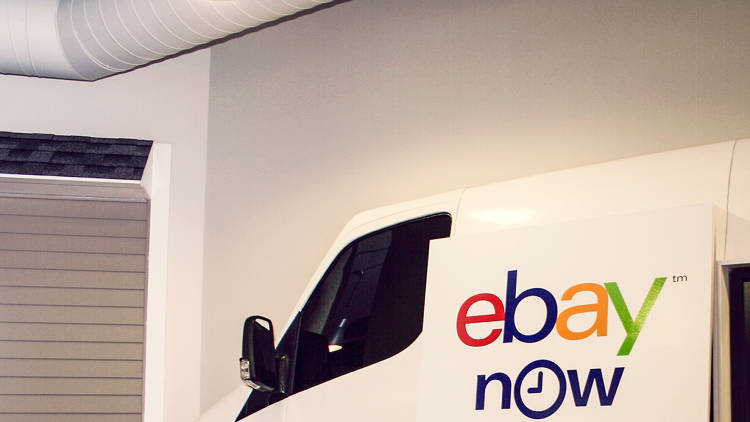 <p>There may be a van on the wall of its dispatch, but eBay Now delivery people go on foot, taxi, or subway.</p>