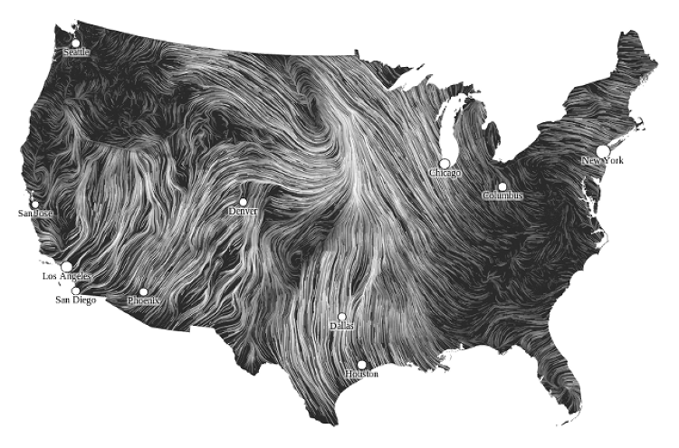 "<p><a href=&quot;http://hint.fm/wind/&quot; target=&quot;_blank&quot;>Wind Map</a> is an art project created by Fernanda Viégas and Martin Wattenberg. It makes the invisible visible using near-term wind speed forecast data from the National Digital Forecast database, which is updated hourly.</p>  <p>""A wonderfully elegant and transfixing portrayal of wind,"" says Kirk. ""Aside from being widely celebrated across the field, it also became the go-to tool during the severe wind events that struck the U.S. during 2012, elevating it beyond just being a beautiful design into an actual utility that people turned to, learned from and discussed.""</p>  <p>You can zoom in on particular regions of the country, find the wind velocity at at a precise latitude and longitude, and browse wind patterns from the past such as when Hurricane Sandy made landfall. Gazing at Wind Map has a similar mesmerizing effect to looking into the flickering flames of an open fire.</p>"