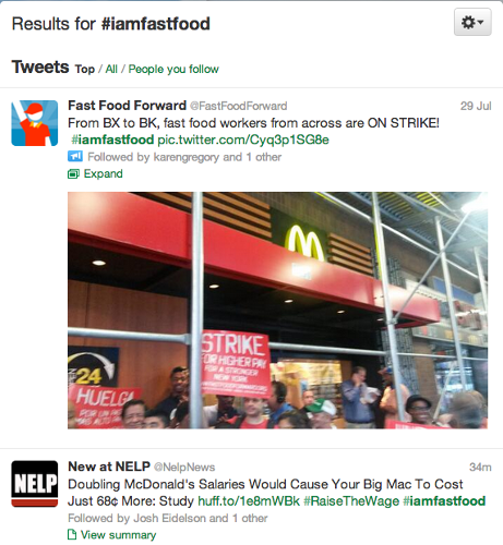<p>#iamfastfood is a hashtag for photos and firsthand reports of the strikes.</p>