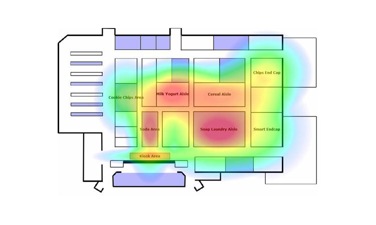 <p>This RetailNext heat map shows the areas of a store that get the most foot traffic.</p>