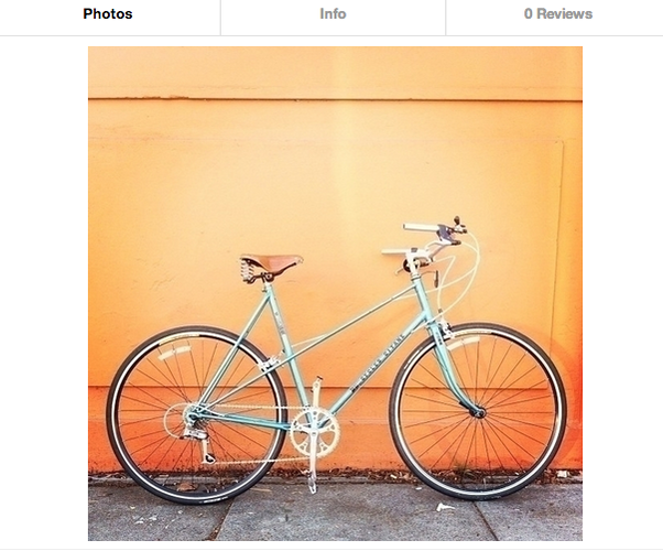 <p>&quot;Adorable mixte bicycle&quot; being listed by Charity R. in San Francisco. $8 per hour, $30 per day, $150 per week.</p>