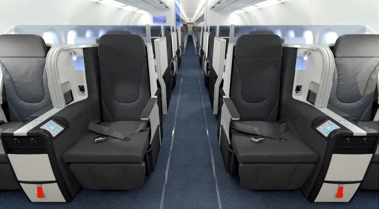 <p>Business class seats will lie flat. They have adjustable firmness and massage functions.</p>