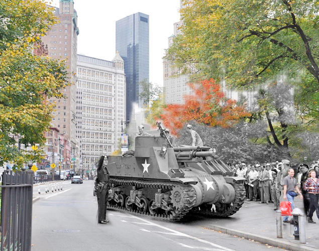 <p>M-7 tank in New York City</p>