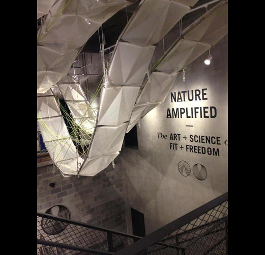 <p>The highlight of the store is an adjustable &quot;suspension ceiling system&quot; made from recycled DVDs and reinforced with rice husks.</p>