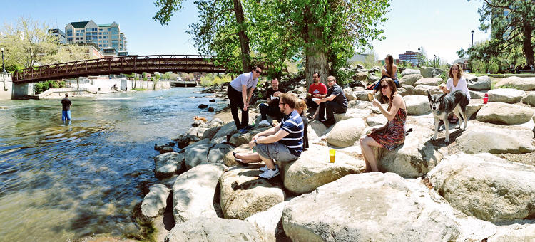 <p>A nice break from Friday lunch in a restaurant is takeout by the Truckee River. This is a picture of the ShortStack crew eating lunch on the rocks.</p>