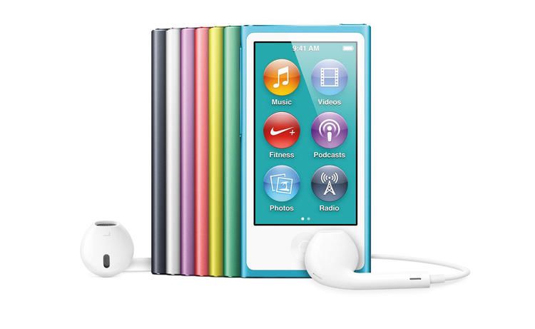 <p>The trend of offering multiple colorways of iPods continued with the most recent iPod Nano. It also used a small, multi-touch enabled screen and supported video, which previous models did not. A small package packing the punch of its larger counterparts.</p>